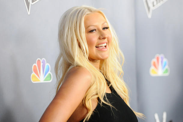 "Christina Aguilera at ""The Voice"" Season 4 premiere [photo: Jason LaVeris/FilmMagic]"