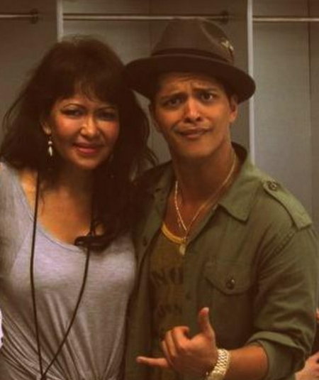 Bruno Mars with Bernadette-Hernandez [photo: Instagram]