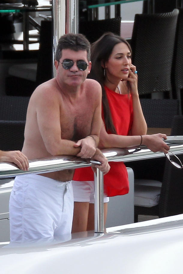 Simon Cowell and Lauren Silverman yachting in St. Barths, 2012 [photo: INFphoto.com]