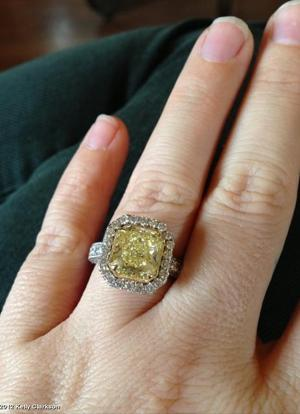 Kelly's engagement ring [photo: WhoSay]
