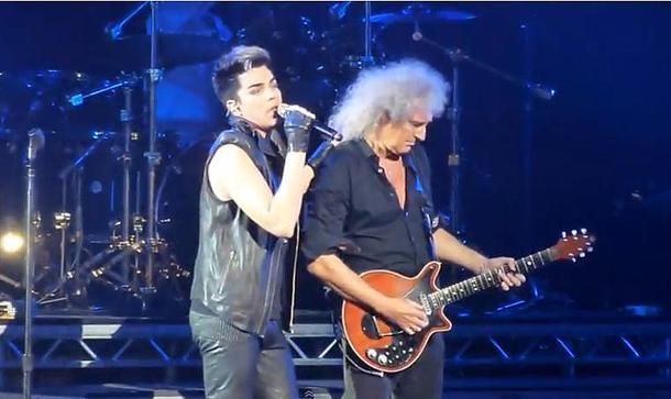 Adam Lambert with Queen's Brian May in London