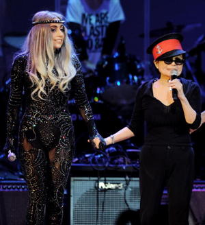 Lady Gaga and Yoko Ono (Photo by Kevin Winter/Getty Images)