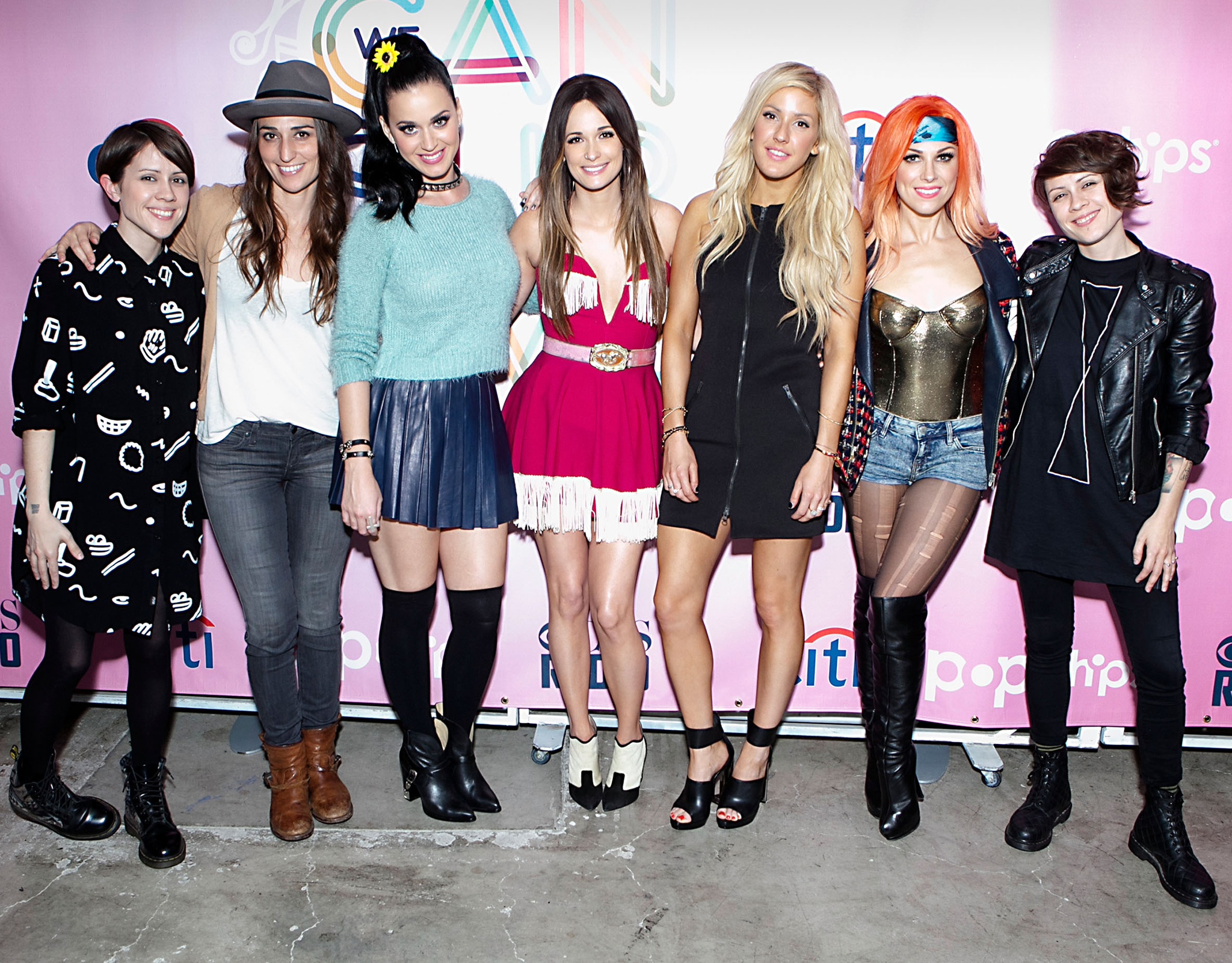 The #WeCanSurvive performers (L-R) Sara Quin, Sara Bareilles, Katy Perry, Kacey Musgraves, Ellie Goulding, Bonnie McKee, and Tegan Quin (Gabriel Olsen/FilmMagic)