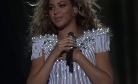 Beyoncé says she is glad to be back on stage in Antwerp. (YouTube)