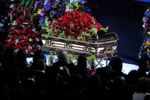 Michael Jackson's casket at Staples Center memorial [Getty Images]