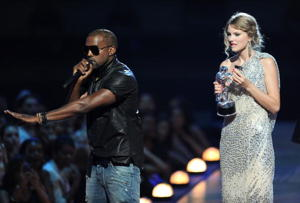 Kanye's infamous VMAs interruption [photo: Kevin Mazur/Getty]