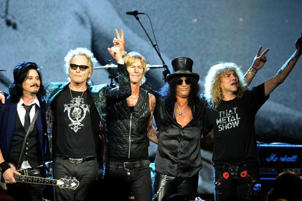 Gilby Clarke, Matt Sorum, Duff McKagan, Slash, Steven Adler (photo: Michael Loccisano/Getty Images)
