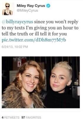 Miley's deleted tweet.