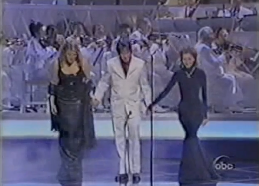 Elliott Smith with Trisha Yearwood and Celine Dion at the 1998 Oscars