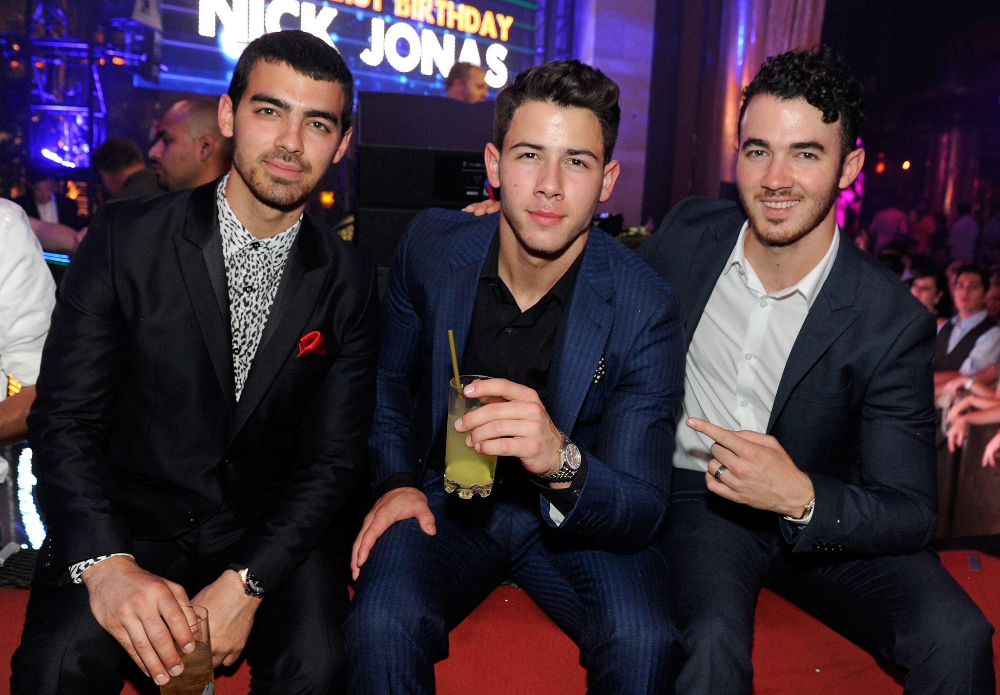The Jonas Brothers celebrating Nick's birthday in September. (Getty Images)