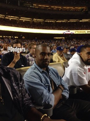 The Dodgers tweeted this photo of Kanye West watching the game (Twitter).