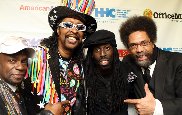 Boogie Cordell Mosson, Bootsy Collins, Tye Tribbett and Dr. Cornel West (Johnny Nunez, WireImage)