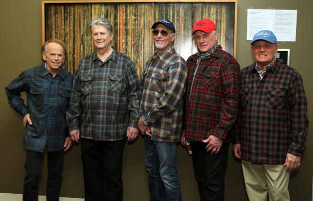The reunited Beach Boys. L-R: Al Jardine, Brian Wilson, David Marks, Mike Love, Bruce Johnston (Photo: Rebecca Sapp)