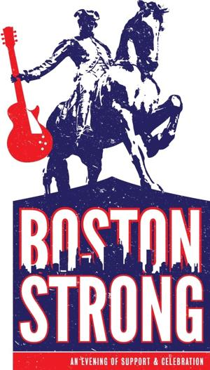 The Boston Strong logo that ran as a test pattern during Cook's set