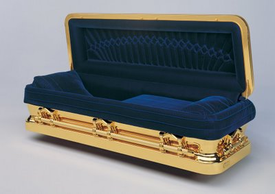 The gold-plated Promethean coffin