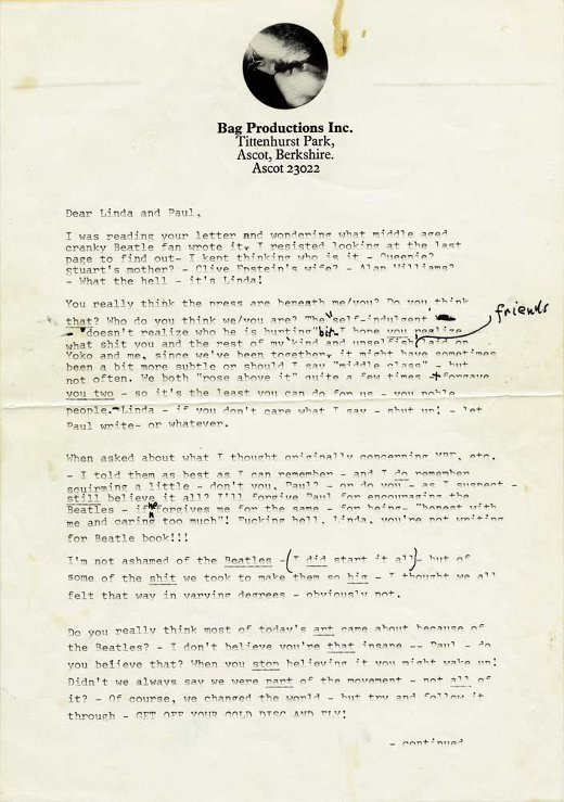 Page 1 of John and Yoko's letter to Linda and Paul