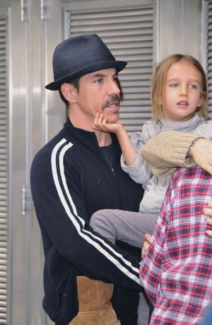 Kiedis with his son, Everly Bear, in April (Getty Images)