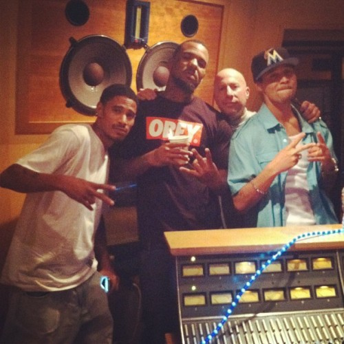 Lazyie Bone and Bizzy Bone in the studio with Game.