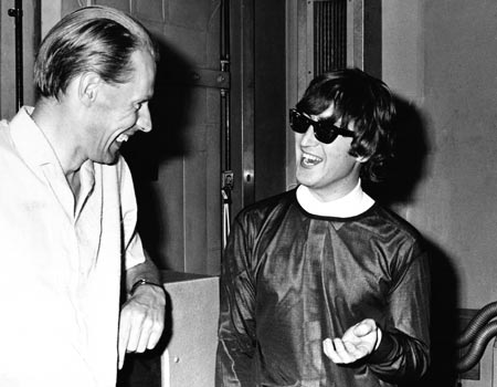 George Martin and Lennon, in seemingly happier times