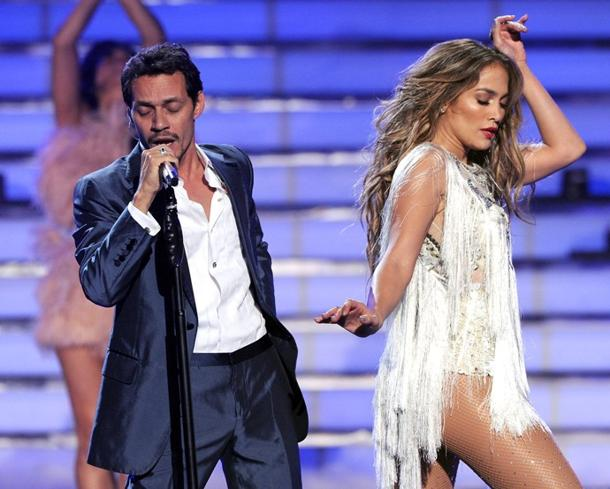 Marc Anthony and Jennifer Lopez performing on American Idol in May. Getty Images, Kevin Winter