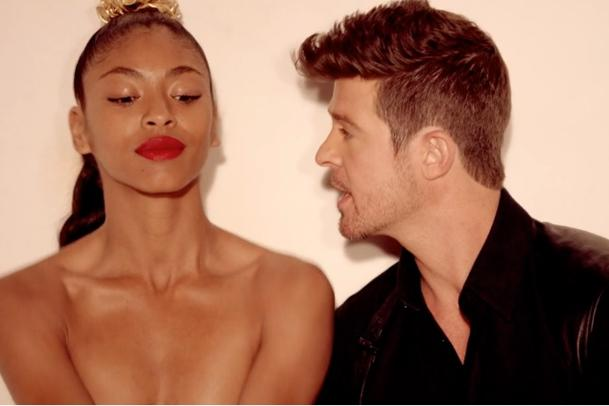Robin Thicke Cavorts With Topless Babes; Wife Approves