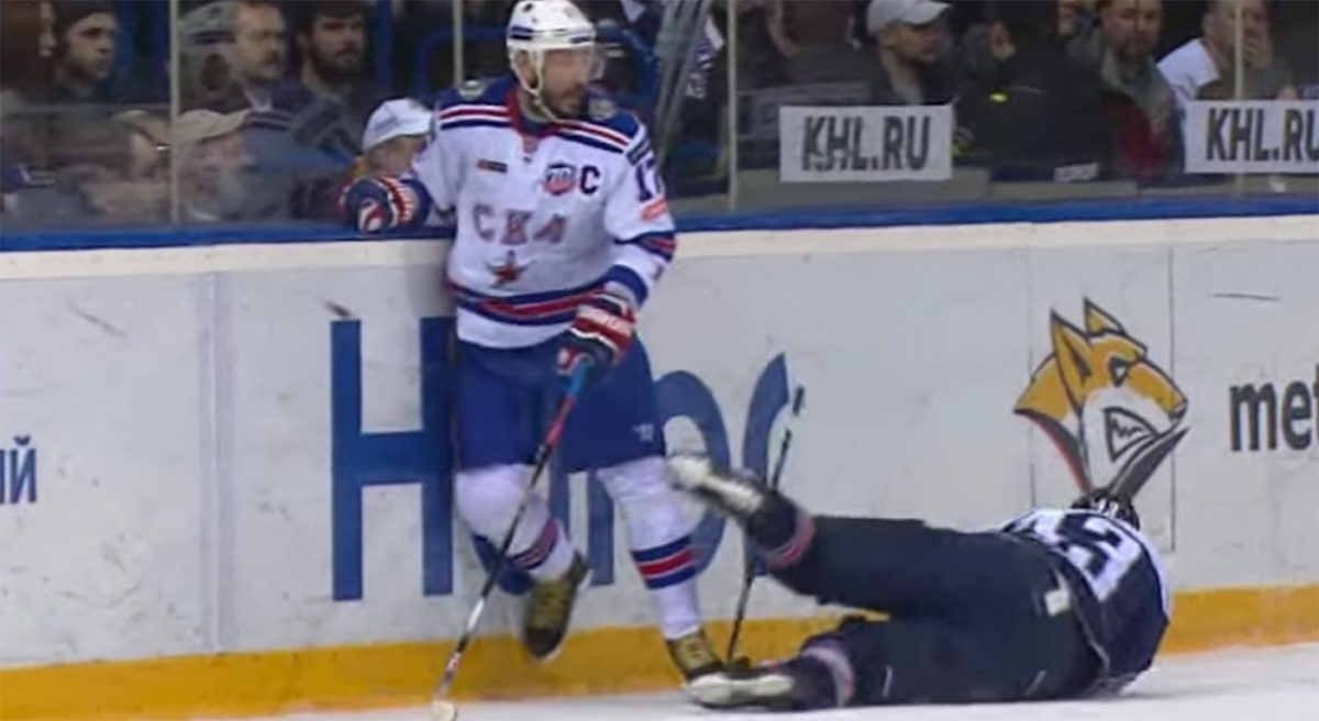 KHL: Not Overly Captain-like... Ilya Kovalchuk Ejected From Russian League Finals Game For Hard Elbow To The Face (video)