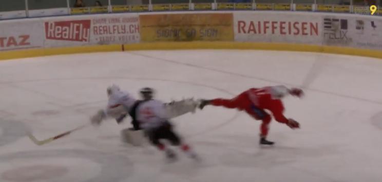 NLA: Goalie, Shooter Get Skates Jammed Together In Hockey Oddity (video)