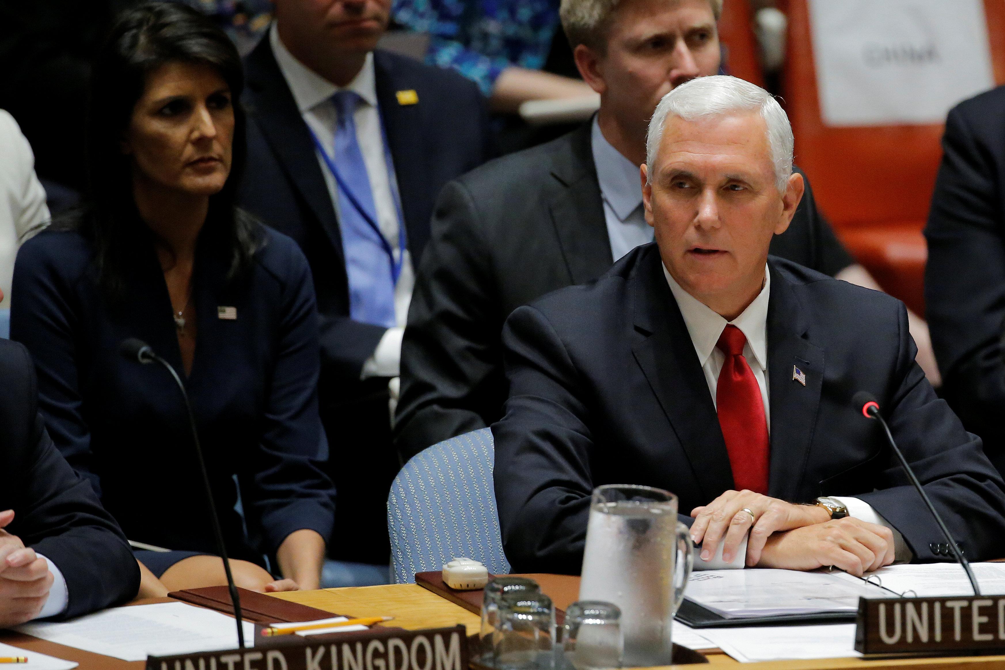 Pence presses Myanmar, U.N. to end Rohingya violence