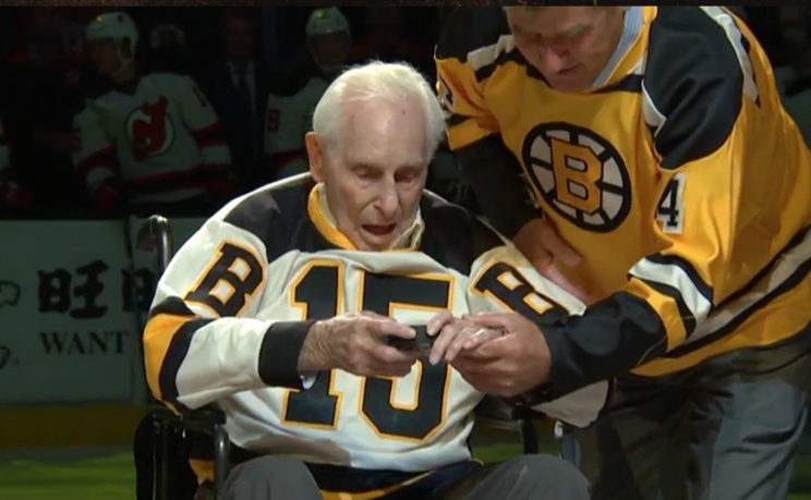 Bobby Orr Assists Milt Schmidt, 98, For Unforgettable Bruins' Puck Drop (video)