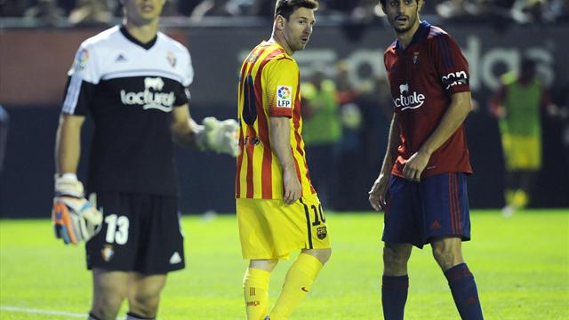 Liga - Messi return fails to inspire Barca in Osasuna stalemate