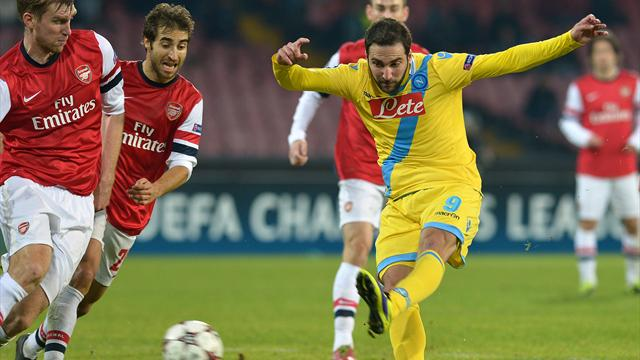 Champions League - Arsenal through despite loss to unlucky Napoli