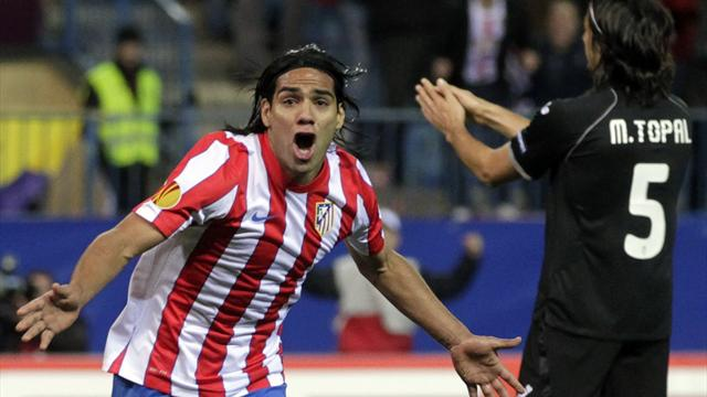 Falcao double hands Atletico advantage