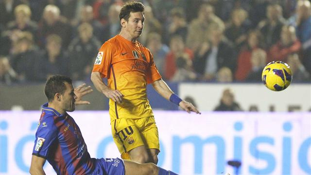 Spanish Liga - Messi's brace number eight sees off Levante