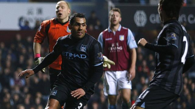 Premier League - Tevez fires unconvincing City to win at Villa