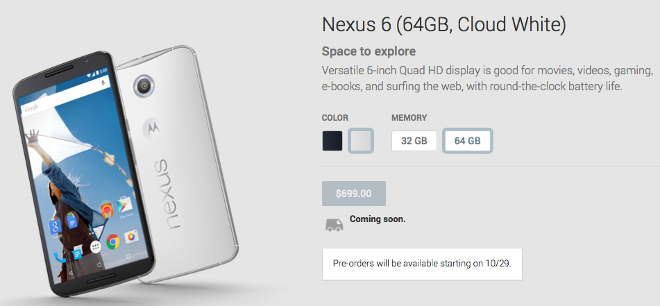 This is when you'll finally be able to preorder Google's amazing new Nexus 6
