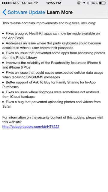 iOS 8.0.1 has been released for the iPhone, iPad and iPod touch