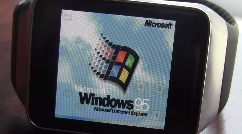 This is what Windows 95 looks like running on Android Wear