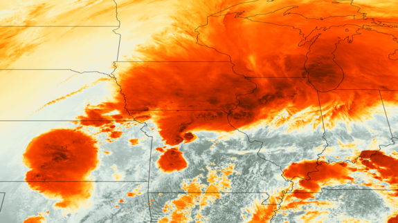 A false-color image, taken by the GOES-13 satellite yesterday afternoon (April 17), showing a series of strong thunderstorms in the Midwest.