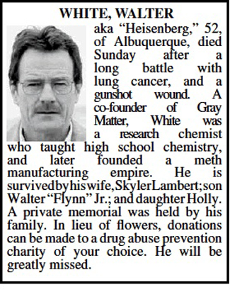 Walter White's obituary in Albuquerque Journal