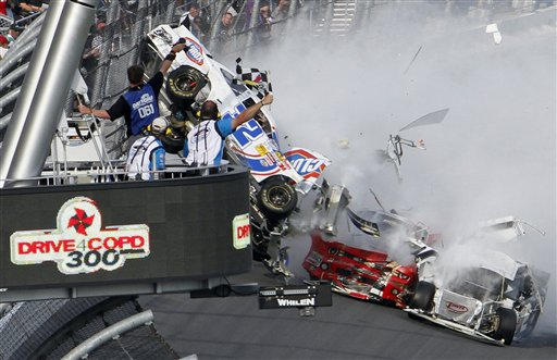 Kyle Larson's car (32) gets airborne during a multi-car wreck at Daytona. (AP)