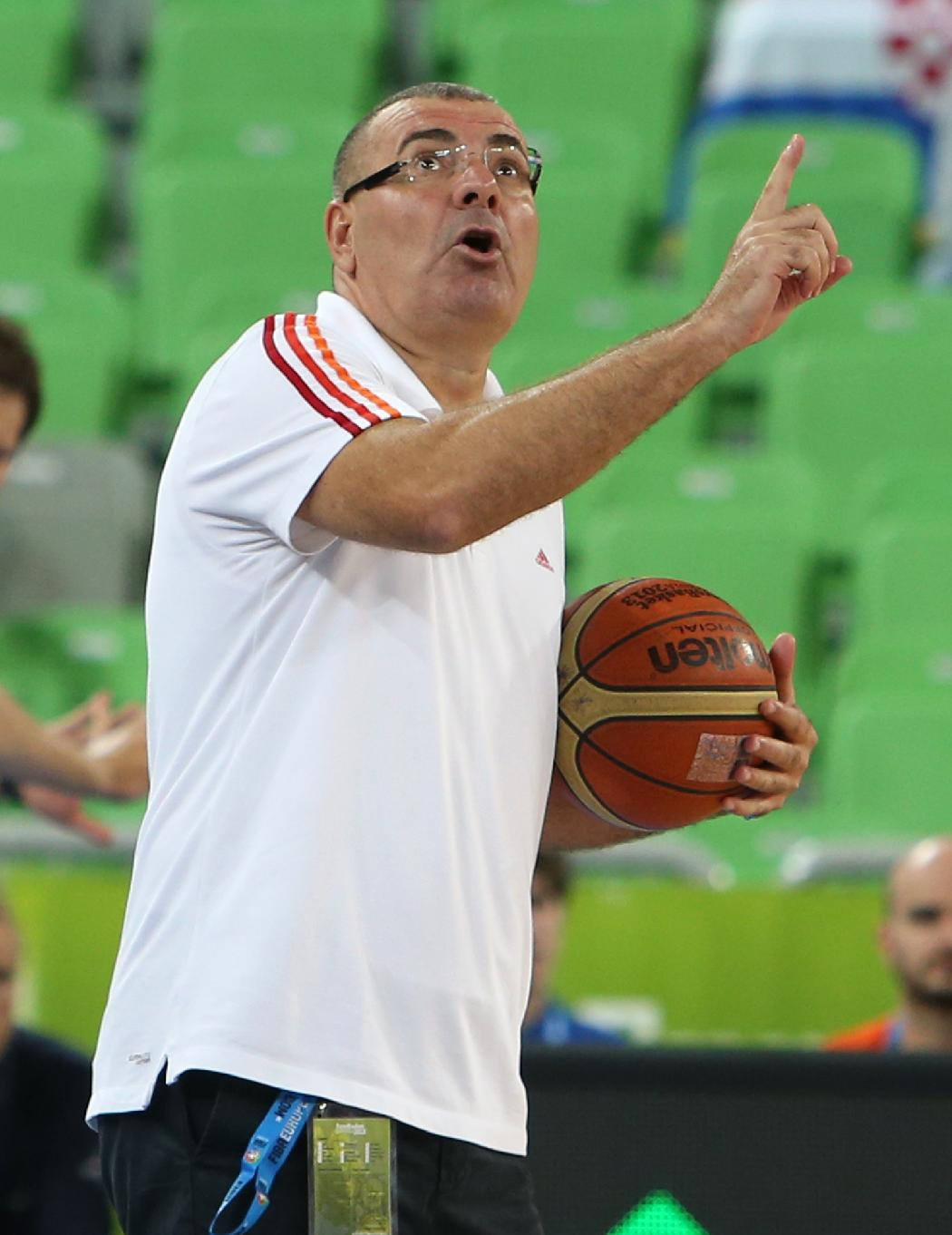Croatia's head coach Jasmin Repesa speaks to the referee, unseen, as he holds the ball during a EuroBasket European Basketball Championship Group F match against Finland at the Stozice Arena, in Ljubljana, Slovenia, Thursday, Sept. 12, 2013