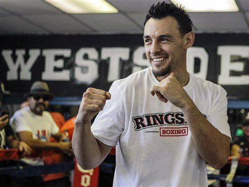 Robert Guerrero poses at Westside Boxing Club in Los Angeles. (AP)