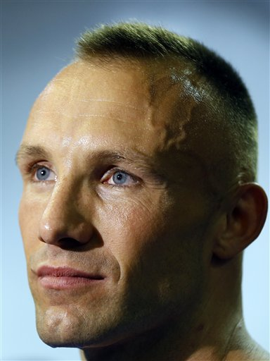 Mikkel Kessler of Denmark listens during a media interview opportunity in London, Tuesday, May 21, 2013. Mikkel Kessler will fight against Carl Froch in a super-middleweight match on May 25 in London