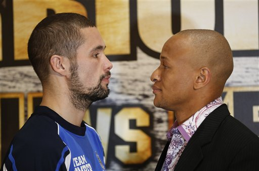 Tony Bellew of Britain, Commonwealth light heavyweight champion, left, and Isaac Chilemba of Malawi, former WBC light heavyweight champion pose for members of the media during a press conference at O2 Arena in London, Wednesday, May 22, 2013.  Bellew fights Chilemba in an undercard match between Carl Froch and Mikkel Kessler at the O2 Arena on upcoming Saturday