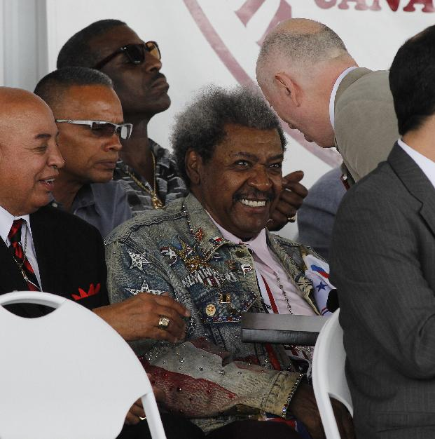International Boxing Hall of Fame 2014 inductee Graham Houston, right,  greets boxing promoter Don King during the Hall of Fame Induction ceremony in Canastota, N.Y, Sunday, June 8, 2014