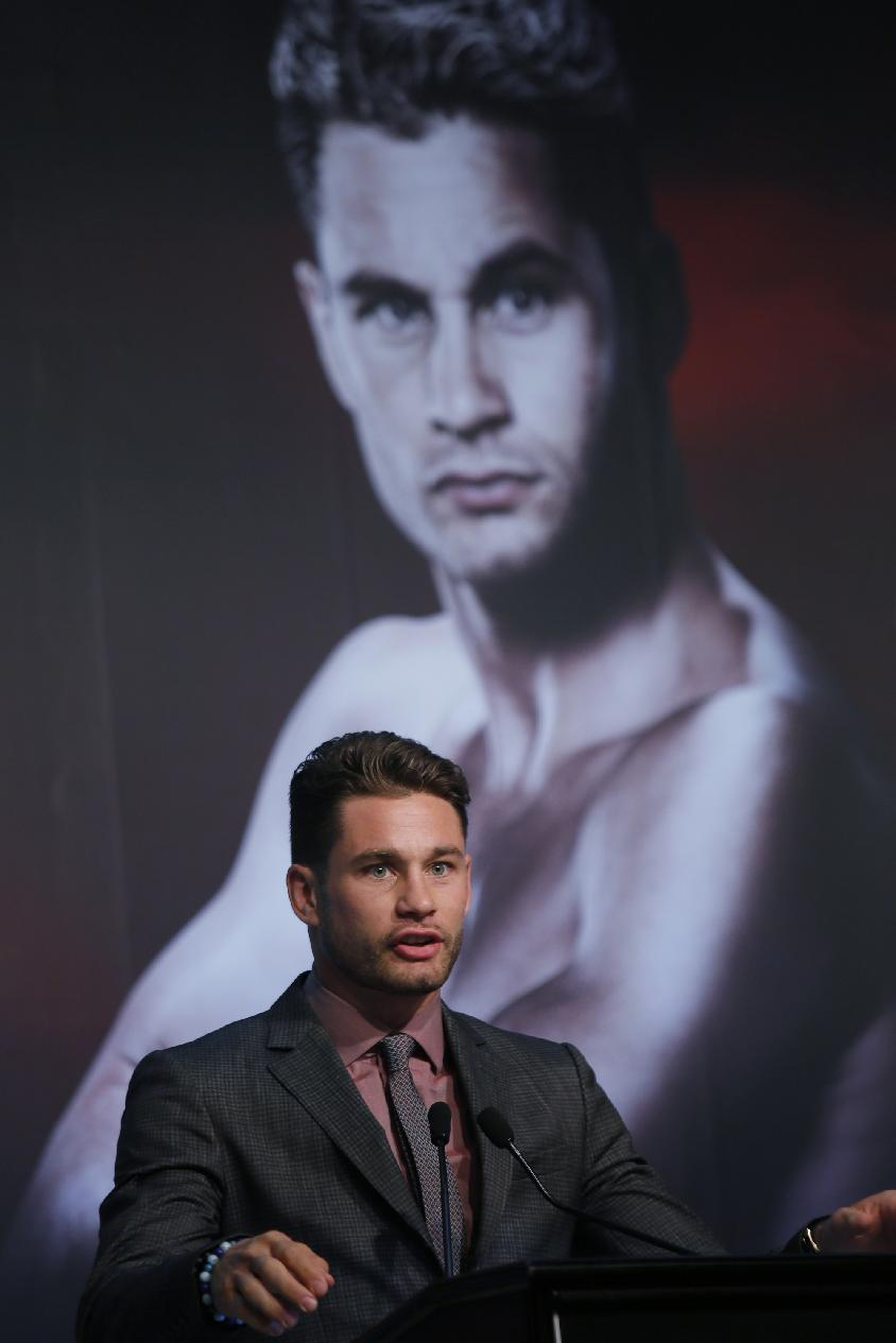 Chris Algieri of the United States speaks during a news conference in Macau, Monday, Aug. 25, 2014. Algieri is scheduled to fight with Filipino Boxers Manny Pacquiao in a WBO welterweight title bout at the Venetian Macao on Nov. 23 in Macau