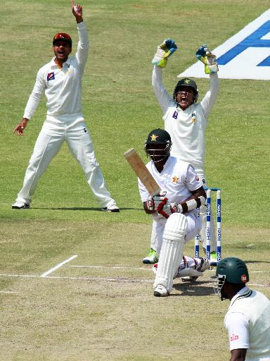 Pakistan players appeal for the wicket of Zimbabwe batsman Tendai Chatara, center, on the second day of the test match against Pakistan at Harare Sports Club in Harare, Wednesday, Sept. 11, 2013