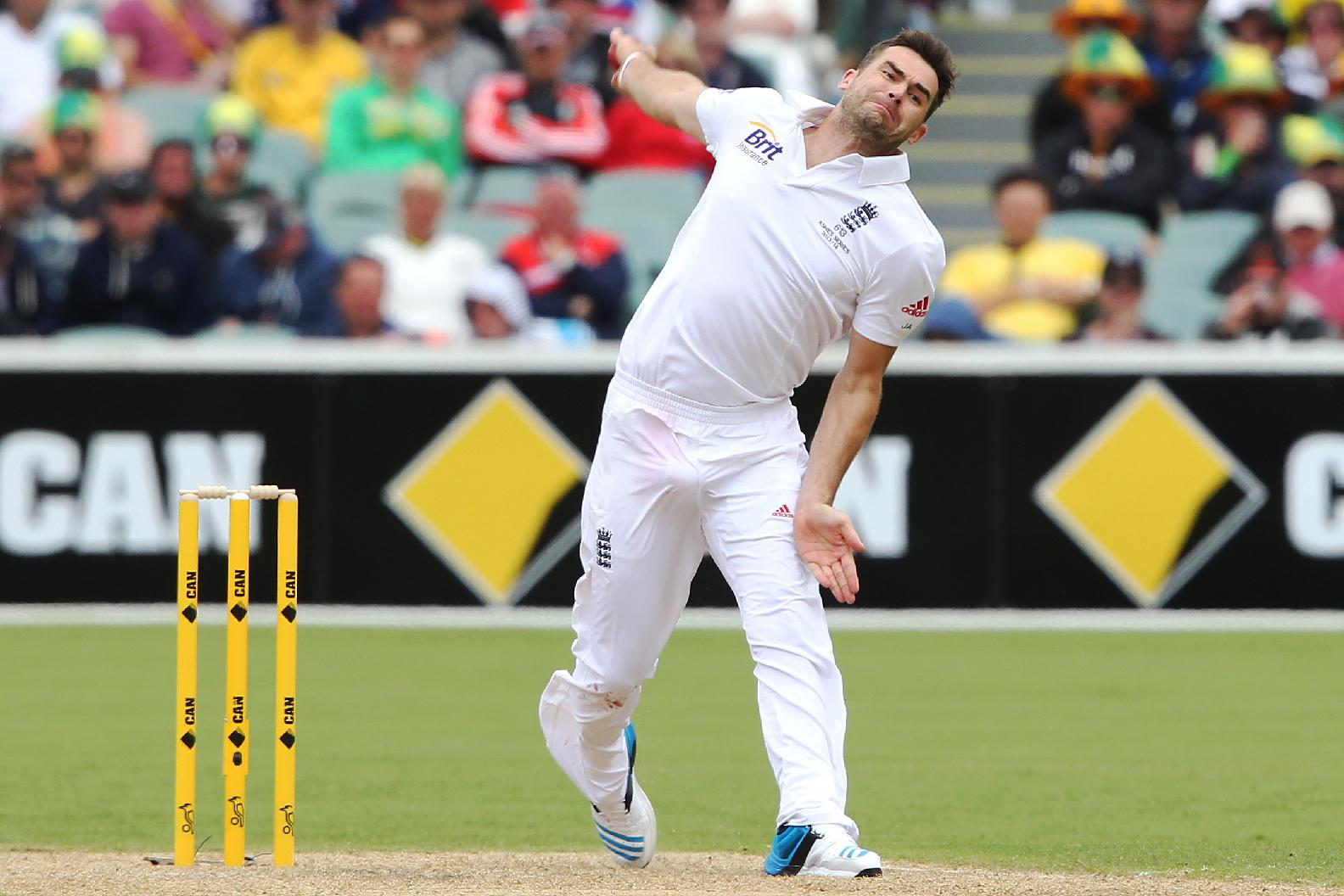 England's James Anderson bowls during the second Ashes cricket test match between England and Australia, in Adelaide, Australia, Thursday, Dec. 5, 2013