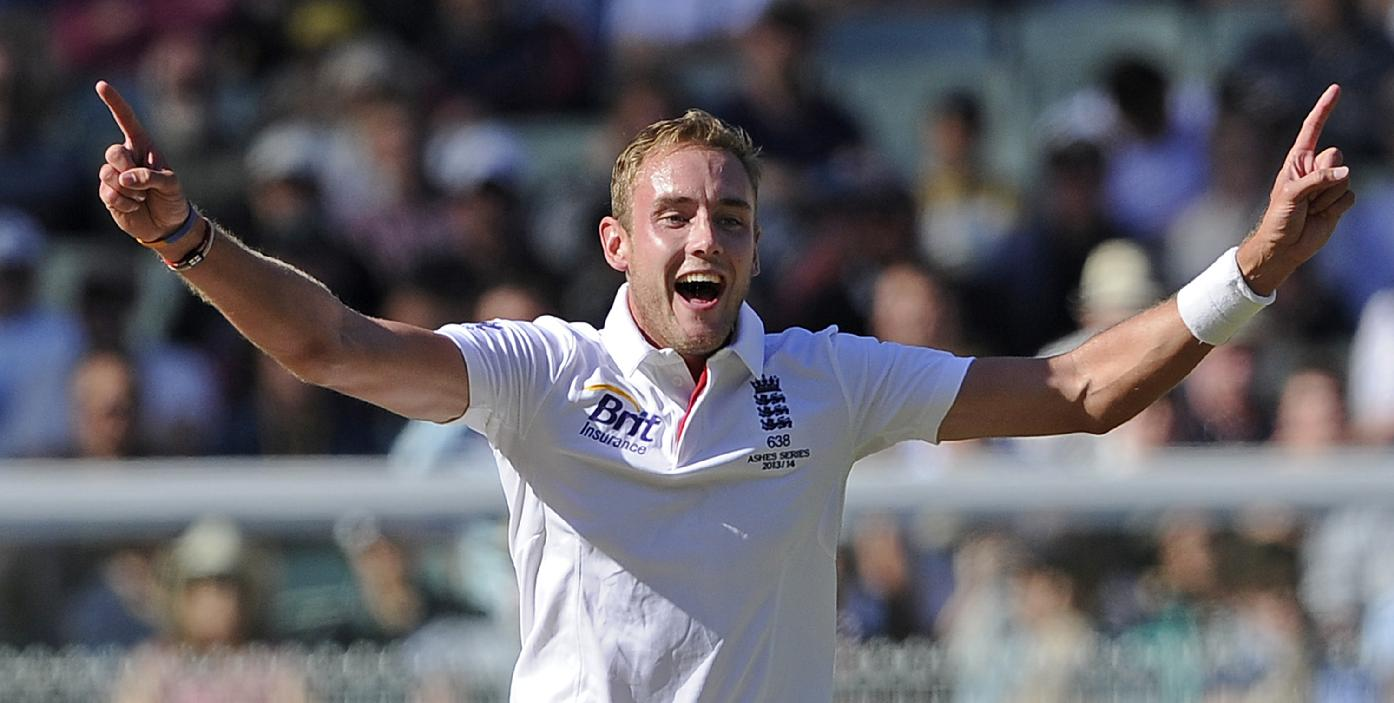 England Stuart Broad, celebrates after taking the wicket of Australia's Ryan Harris for 6 runs during their Ashes cricket test match, Friday, Dec. 27, 2013, at the Melbourne Cricket Ground in Melbourne, Australia. England made 255 runs in their first innings