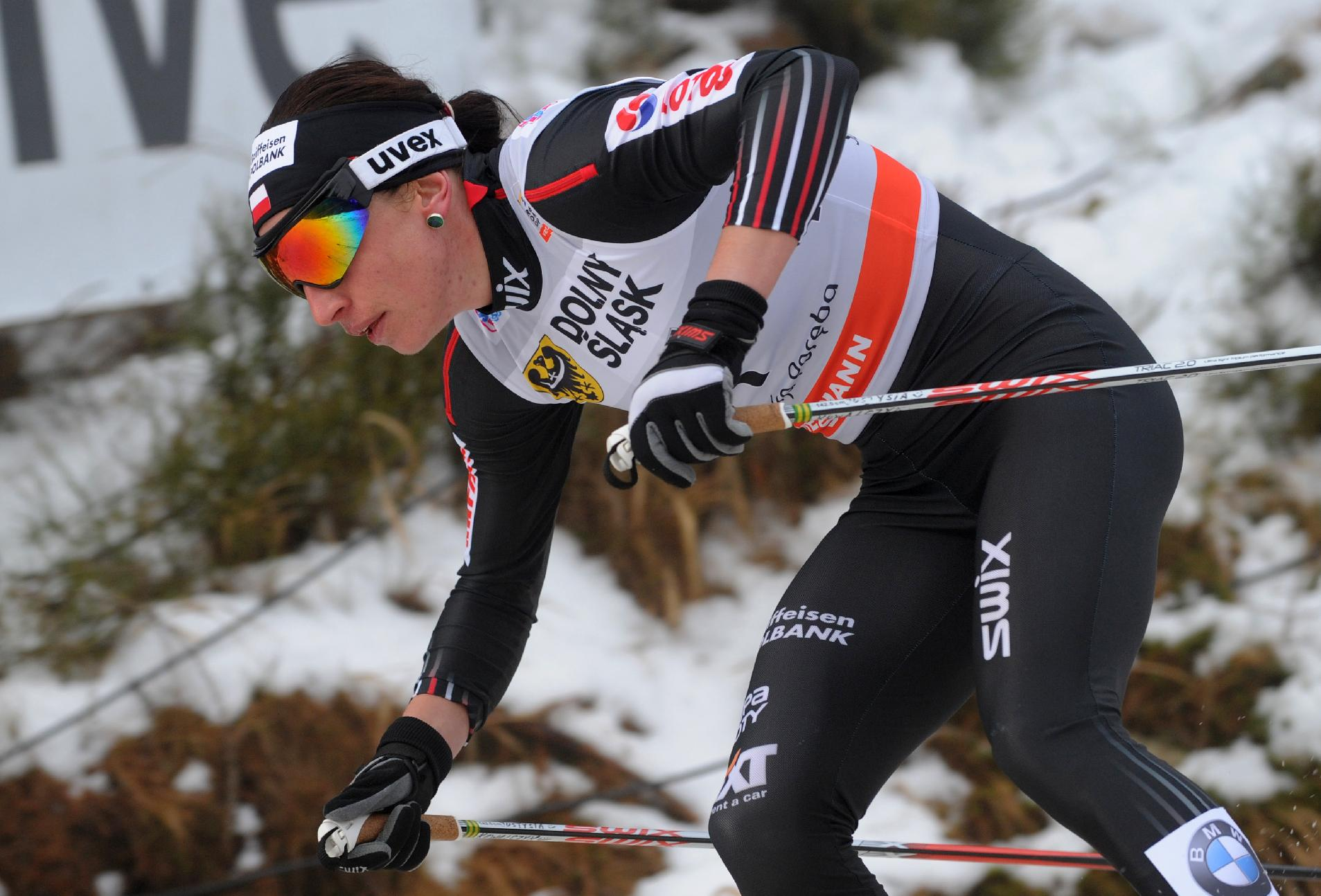 Poland's Justyna Kowalczyk competes during the women's Cross Country skiing 10km Mass Start Classic World Cup event in Szklarska Poreba, Poland, Sunday, Jan. 19, 2014